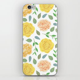 Hand painted yellow coral watercolor modern floral iPhone Skin