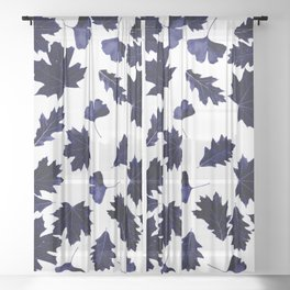 Indigo Blue Sun-Dyed Leaves Sheer Curtain