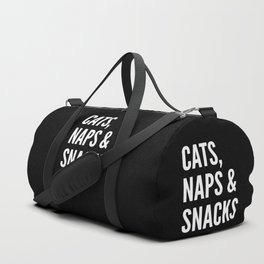 Cats, Naps & Snacks (Black) Duffle Bag