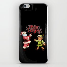 Merry Christmas Embroidery Santa Elf iPhone Skin