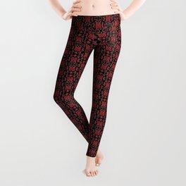 Red & Black Slavic Patterns Leggings