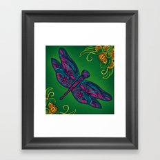 Dragonfly. Fly with me through the wind. Framed Art Print