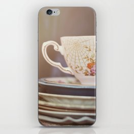 Vintage teacup and old books iPhone Skin