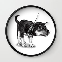 Cute cautious puppy wagging it's tail. Wall Clock