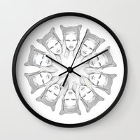 megan lara Wall Clocks featuring LARA/CIRCLE by PAPERPLANESLMC ILLUSTRATIONS