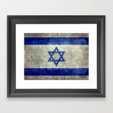 Flag of the State of Israel - Distressed worn patina Framed Art Print
