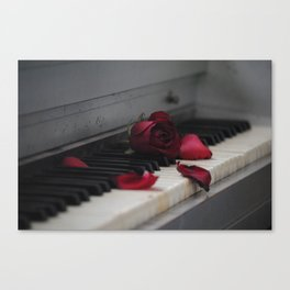 Piano with Red Rose Petals Canvas Print