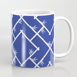 Bamboo Chinoiserie Lattice in Blue + White Coffee Mug
