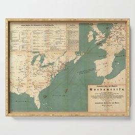Vintage German US Immigration Map (1853) Serving Tray
