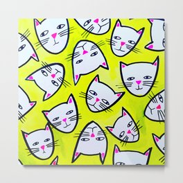Cat Heads Metal Print
