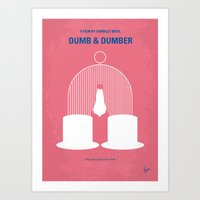 dumb and dumber Art Prints featuring No241 My Dumb & Dumber minimal movie poster by Chungkong