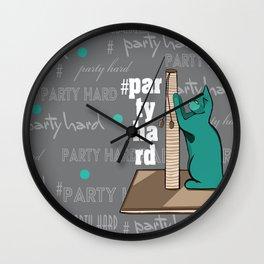 cats hard party Wall Clock