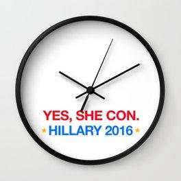 yes,she con. hillary 2016 Wall Clock
