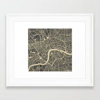 london Framed Art Prints featuring London by Map Map Maps