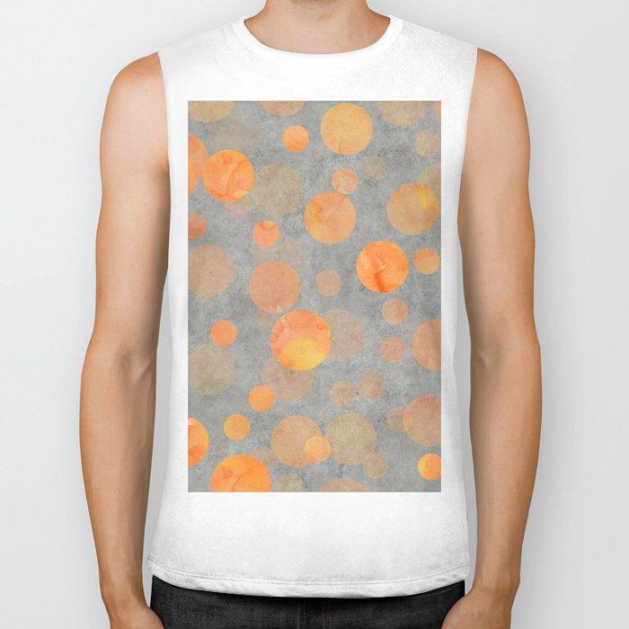 Fancy orange Dot Pattern on grey Biker Tank