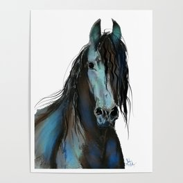 BLaCK FRieSiaN HoRSe PRiNT ' THe ONe ' BY SHiRLeY MacARTHuR Poster