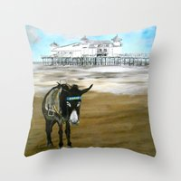 donkey Throw Pillows featuring Seaside Donkey by James Peart