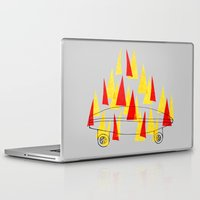skateboard Laptop & iPad Skins featuring Flaming Skateboard by marcusmelton