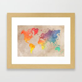World Map Maps #map #maps #world Framed Art Print