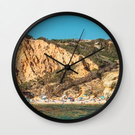 People On Praia do Camilo (Camel Beach) In Portugal, Travel Photo, Large Printable Photography Wall Clock