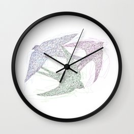 Sketch of Swallow Birds Design in Motion Symbolism of Freedom and Unity Wall Clock