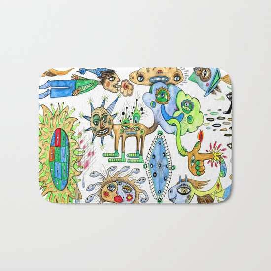 watercolor doodle Bath Mat