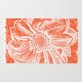 White Flower On Pumpkin Orange Crayon Rug