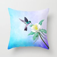 hummingbird Throw Pillows featuring hummingbird. by haroulita