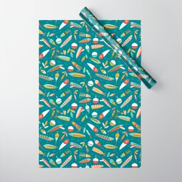 Fishing Lures Blue Wrapping Paper
