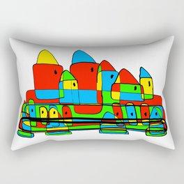 Colored Little Village for Kids Rectangular Pillow