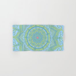 Blue and Green Flower Mandala Hand & Bath Towel
