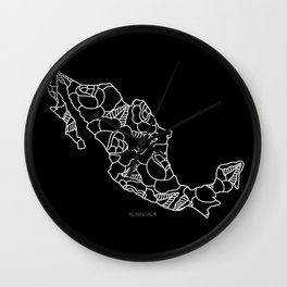 Mexico Map White Outline Wall Clock