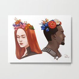 CATWS Sam and Nat Floral Crowns Metal Print