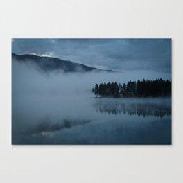 Foggy lake morning Canvas Print