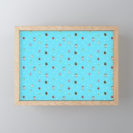 Sad Food by Squibble Design - Repeating Pattern on blue polka dot background Framed Mini Art Print