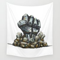minerals Wall Tapestries featuring Minerals and rocks by YISHAII