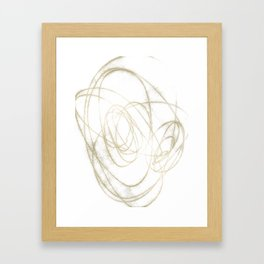 Beige and Brown Minimalist Abstract Line Drawing Framed Art Print
