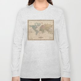 Vintage Map of The World (1823) V.2 Long Sleeve T-shirt