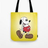 snoopy Tote Bags featuring Mickey x Snoopy by Nicholas Hyde