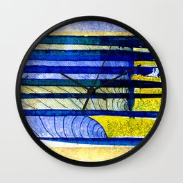 WAY OF THE OCEAN - Yellow & Blue Waves Wall Clock