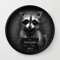 rocket raccoon Wall Clocks featuring Raccoon Mugshot by Company of Wolves