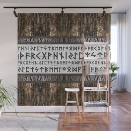 Elder Futhark on wooden texture Wall Mural