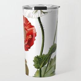 Nature, botanical print, flower poster art of Poppy Travel Mug