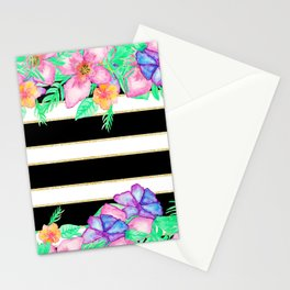Stylish black white gold stripes floral monogram  Stationery Cards