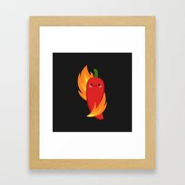 Red chili peppers and fire Framed Art Print