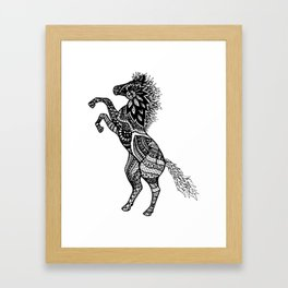 Rearing Horse Zentangle (abstract doodle) Framed Art Print