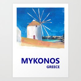 Mykonos Greece Windmill, Sea and Little Venice Travel Retro Poster Art Print
