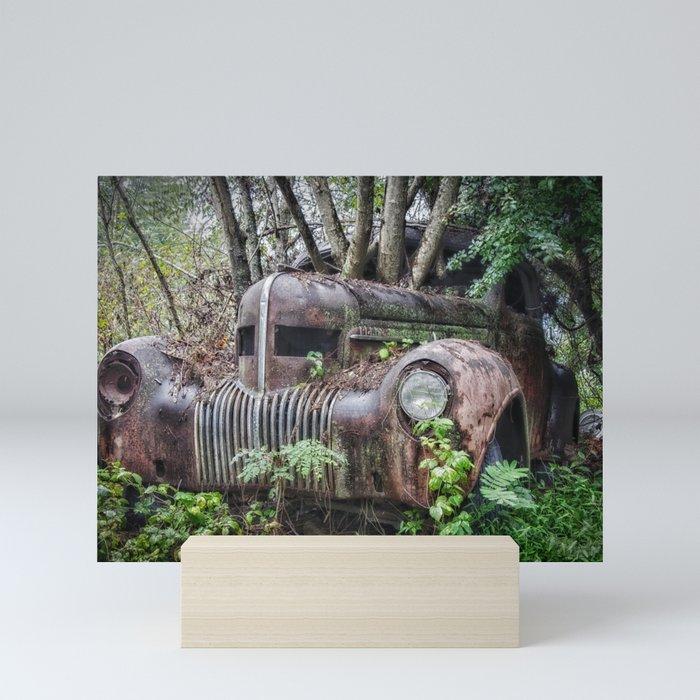 Vintage Car in Trees Mini Art Print