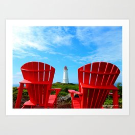 Lighthouse and chairs in Red White and Blue Art Print