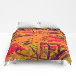 Orange Purple Green & Pink Abstract Comforters
